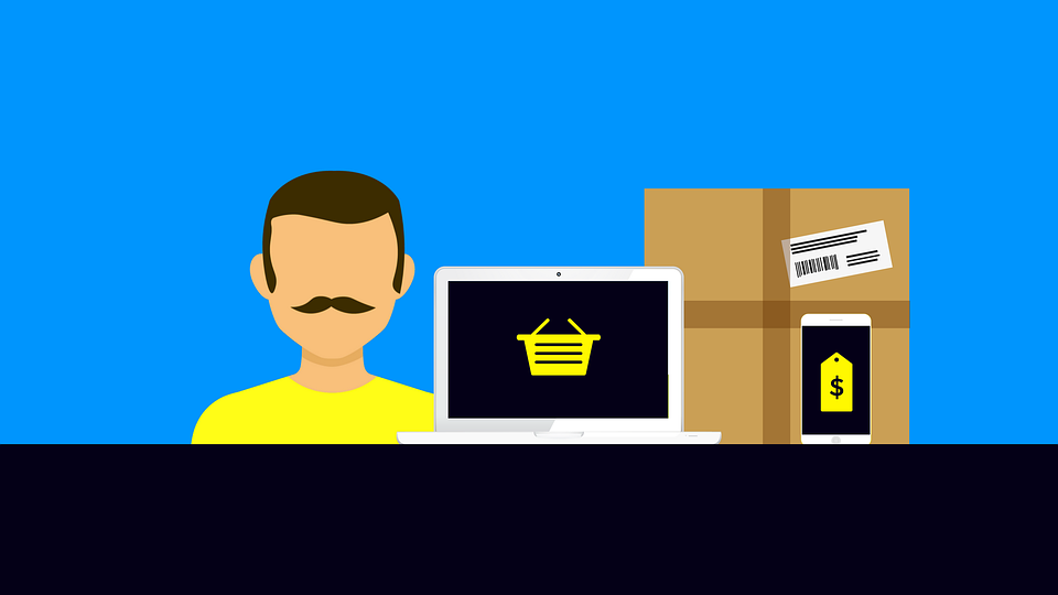 Online shopper med pakke