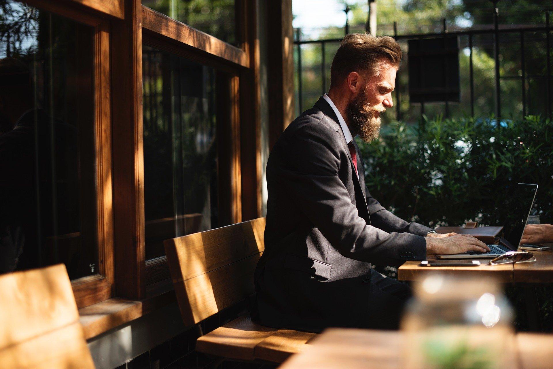 mand, computer, arbejde, forretning
