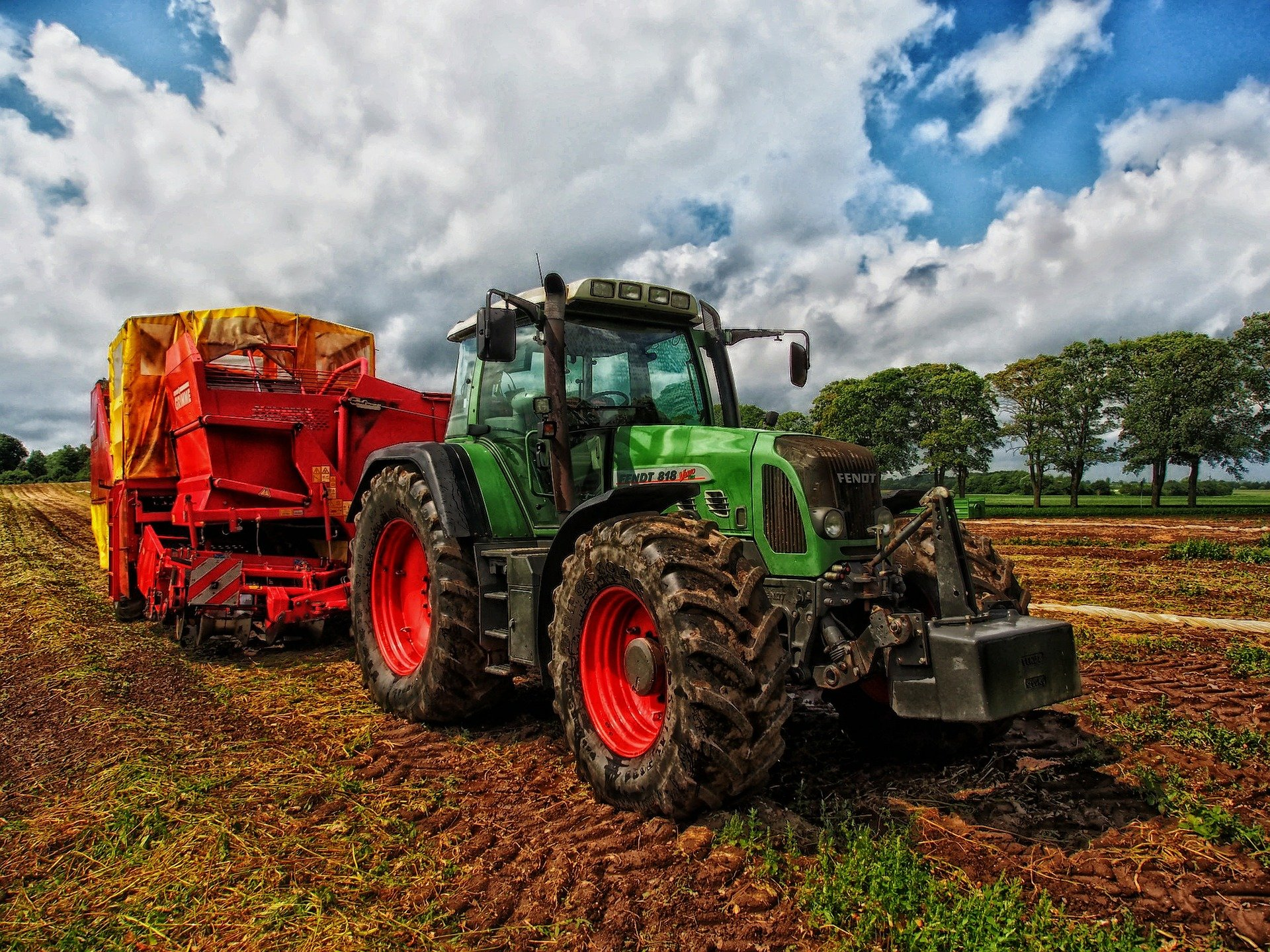 traktor, mark, landbrug, udenfor